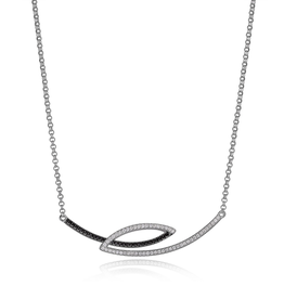 Elle Elle Tuxedo Sterling Silver Rhodium and Ruthenium Plated CZ Horizontal Bypass Necklace