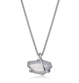 Elle Elle Bouquet Sterling Silver Rhodium Plated Blue Chalcedony Necklace