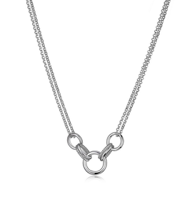 Elle Elle Essence Sterling Silver Rhodium Plated Double Circle Link Necklace