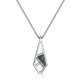 Elle Elle Charisma Sterling Silver Rhodium Plated Geometric Mother of Pearl and CZ Necklace