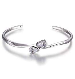 Elle Elle Toi et Moi Silver Two Pear Shape CZ Cuff Bracelet with Signature Ruby