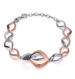 Elle Elle Rose Petal Silver and Rose Gold Plated Adjustable Bracelet with Signature Ruby