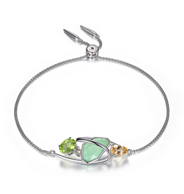 Elle Elle Bouquet Silver Dye Green Quartzite, Lemon Quartz and Citrine Bolo Bracelet with Signature Ruby