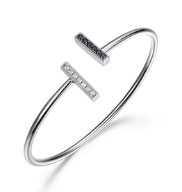 Elle Elle Tuxedo Silver Flexi Cuff Black Nano and CZ Bracelet with Signature Ruby