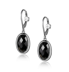 Elle Mystere Checkerboard Obsidian Leverback Earrings