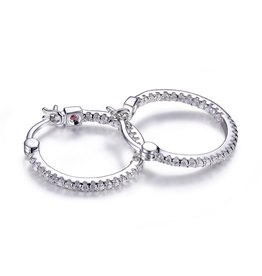 Elle Sterling Silver Rhodium Plated Inside Out Cubic Zirconia 20mm Hoop Earring