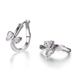 Elle Elle Sterling Silver Rhodium Plated Cubic Zirconia Bypass 20mm Hoop Earring