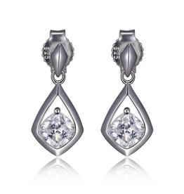 Elle Elle Sterling Silver Rhodium Plated Cubic Zirconia Post Earring