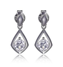 Elle Elle Sterling Silver Rhodium Plated Cubic Zirconia Post Earring