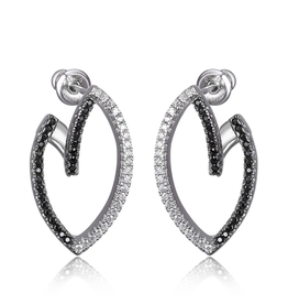 Elle Elle Sterling Silver Rhodium and Ruthenium Plated Black Nano and White CZ Bypass Post Earring