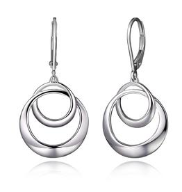 Elle Elle Sterling Silver Rhodium Plated Circle Swirl Leveback Earring