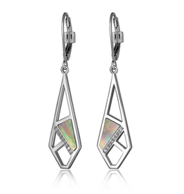 Elle Elle Charisma Sterling Silver Geometric Mother of Pearl and CZ Leverback Earrings