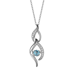 Sterling Silver Dancing Blue Topaz and CZ Necklace