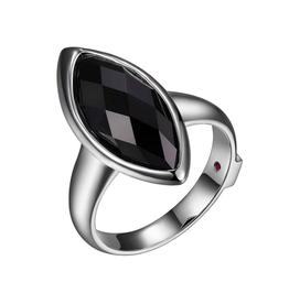 Elle Elle Sterling Silver Rhodium Plated Genuine Black Agate Marquise Shaped Ring.
