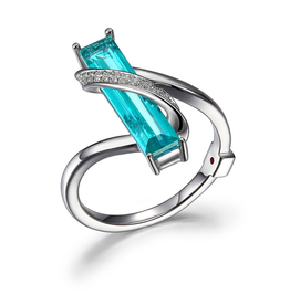 Elle Elle Revolution Sterling Silver Rhodium Plated Genuine Green Mystic Quartz and CZ Ring