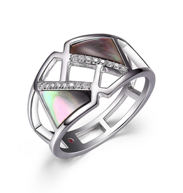 Elle Elle Sterling Silver Rhodium Plated Geometric Mother of Pearl and Cubic Zirconia Ring