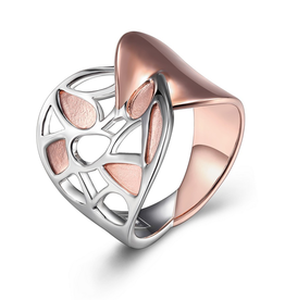 Elle Elle Rose Petal Sterling Silver Rhodium and Rose Gold Plated  Wide Band Ring