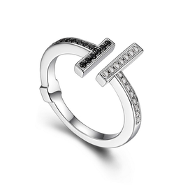 "Elle Elle Sterling Silver Rhodium and Ruthenium Plated Black Nano and White CZ Open ""T"" Ring."