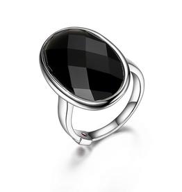 Elle Elle Mystere Checkerboard Black Obsidian Ring