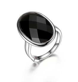 Elle Mystere Checkerboard Black Obsidian Ring