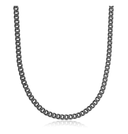 Steelx Steelx Black Stainless Steel Mens Curb Chain