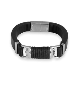 Steelx Steel Bracelet with Black Leather