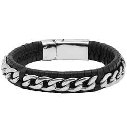 Steelx Steel Curb on Black Leather Bracelet