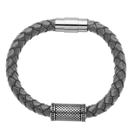 Steelx Steel Antique Barrel with Grey Leather Bracelet