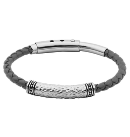 Steelx Steel Hammered with Black Leather Adjustable Bracelet