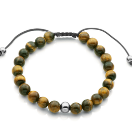 Steelx Mens Yellow Tiger Eye Beaded Adjustable Bracelet 8.5""