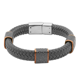 Steelx Braided Leather Bracelet with Magnetic Stainless Steel Clasp