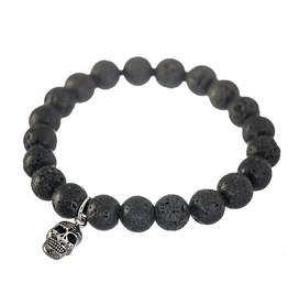 Steelx Steelx Lave Bead and Skull Mens Beaded Bracelet