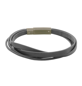 Steelx Multi Stranded Grey Leather Bracelet with Stainless Steel