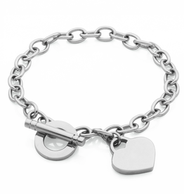 Steelx Steel High Polished Toggle Heart Bracelet