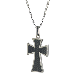 Steelx Steel Carbon Fiber Cross Necklace