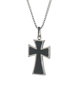 Steelx Steelx Stainless Steel Carbon Fiber Cross Necklace