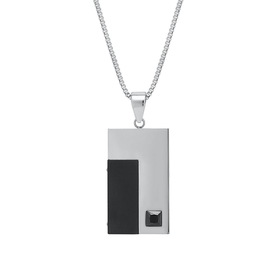 Steelx Steel and Black IP Dog Tag with Black CZ