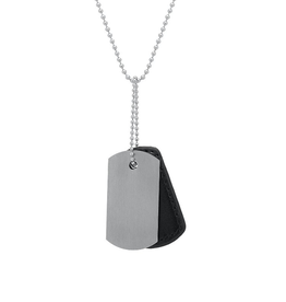 Steelx Steel and Black Leather Brushed Dog Tag