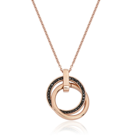 Steelx Steel Rose IP and Black CZ Interlock Necklace