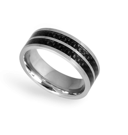 Steelx Steel Black Carbon Fiber Ring