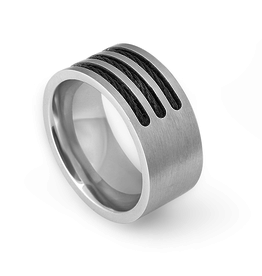 Steelx Steel Ring With Black Wire