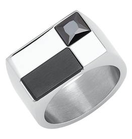 Steelx Steel Black IP CZ Ring