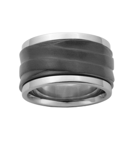 Steelx Steel and Black Steel Ring
