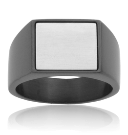Steelx Steel Two Tone  Black Signet Ring