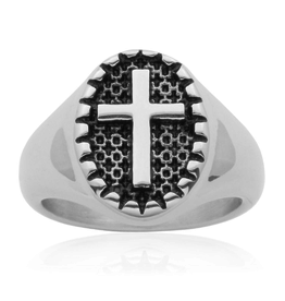 Steelx Steel Ring Cross Ring with Black Enamel