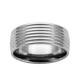 Steelx Stainless Steel Men's Ring with Ridges