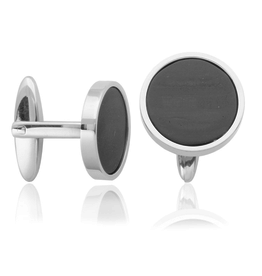 Steelx Steel Polished and Carbon Fiber Cuff Links