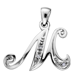 Initial M White Gold Diamond Pendant