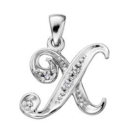 Initial X White Gold Diamond Pendant