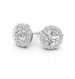 White Gold Halo Round (0.49ct) Diamond Stud Earrings